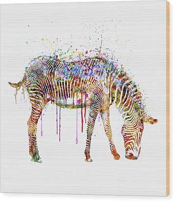 Zebra Watercolor Painting Wood Print