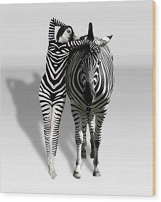 Zebra Woman Wood Print by Lloyd Burchell