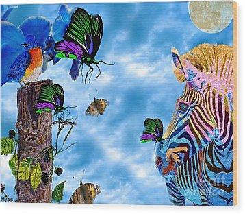 Zebras Birds And Butterflies Good Morning My Friends Wood Print by Saundra Myles
