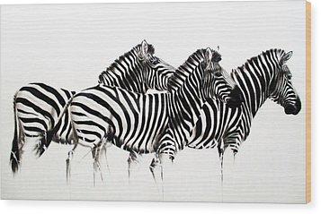 Zebras - Black And White Wood Print