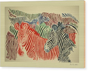 Zebras Of A Different Color Wood Print