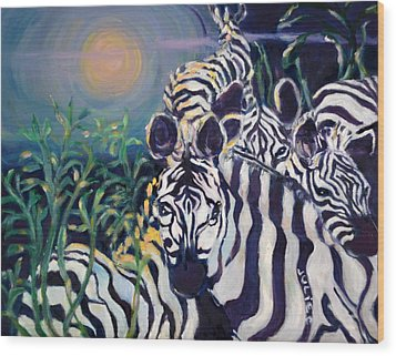 Zebras On The Savanna Wood Print by Julie Todd-Cundiff