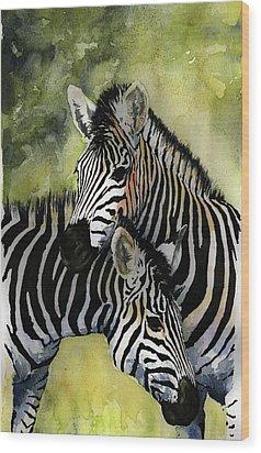 Zebras Wood Print by Roger Bonnick