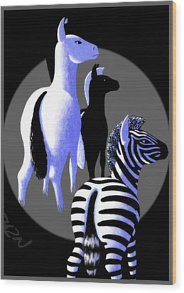 Zebredee Wood Print by Tom Dickson