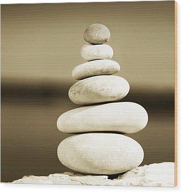 Zen Balance Wood Print by Anna Om