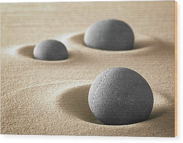 Wood Print featuring the photograph Zen Garden Meditation Stones by Dirk Ercken