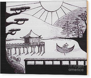 Zen Lake Original Black Ink On White Canvas By Ricardos Wood Print by Ricardos Creations