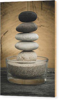 Zen Stones I Wood Print by Marco Oliveira