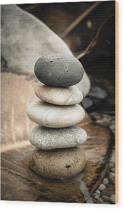Zen Stones Iv Wood Print by Marco Oliveira