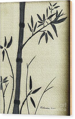 Zen Sumi Antique Bamboo 1a Black Ink On Fine Art Watercolor Paper By Ricardos Wood Print