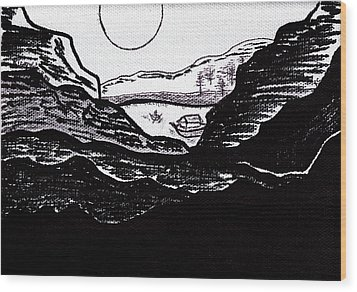 Zen Sumi Midnight Mountain Lake Original Black Ink On White Canvas By Ricardos Wood Print by Ricardos Creations