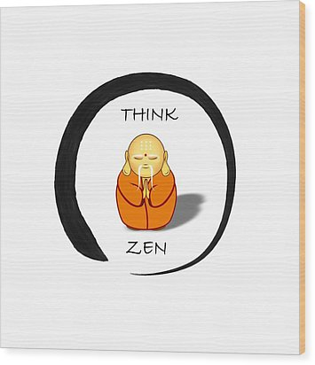 Zen Symbol With Buddha Wood Print
