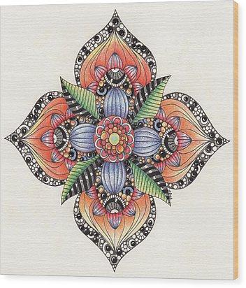 Zendala Template #1 Wood Print by Jan Steinle
