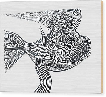 Zentangle Fish Wood Print
