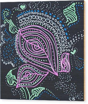 Zentangle Flower Wood Print