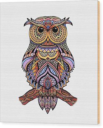 Zentangle Owl Wood Print by Suzanne Schaefer