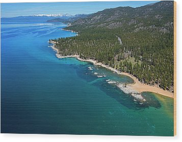 Wood Print featuring the photograph Zephyr Cove To Cave Rock Aerial by Brad Scott