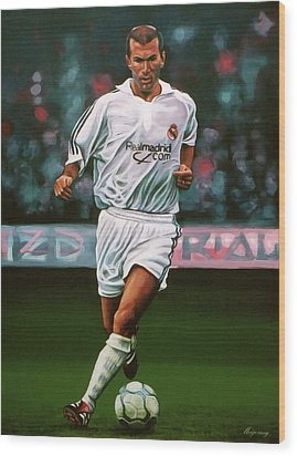 Zidane At Real Madrid Painting Wood Print by Paul Meijering