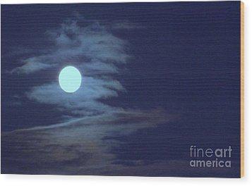 Zig Zag Moon Wood Print by Mary Deal