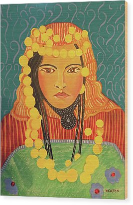 Wood Print featuring the painting Zina by John Keaton