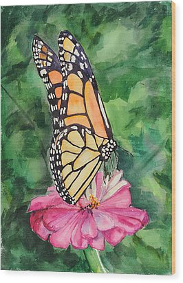 Zinnia And Monarch Wood Print by Judy Loper