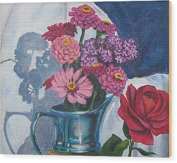 Zinnias And Rose In The Eveing Light  Wood Print by Judy Loper