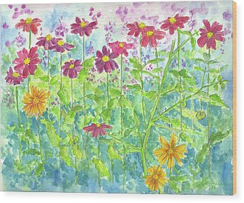 Wood Print featuring the painting Zinnias  by Cathie Richardson