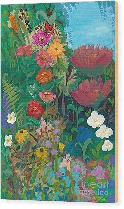 Zinnias Garden Wood Print