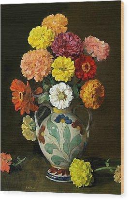 Zinnias In Decorative Italian Vase Wood Print