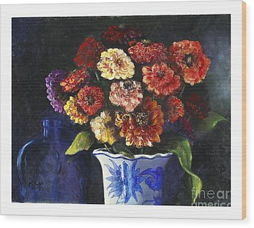 Wood Print featuring the painting Zinnias by Marlene Book