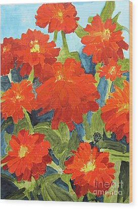 Wood Print featuring the painting Zinnias by Sandy McIntire