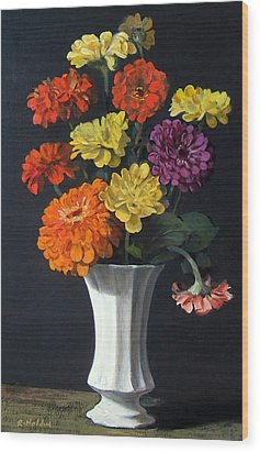 Zinnias Showing Their True Colors In White Vase Wood Print