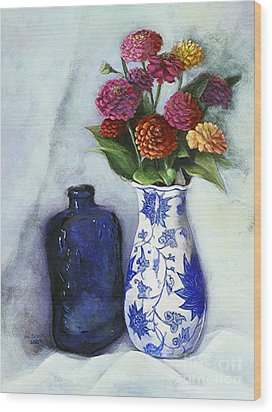 Zinnias With Blue Bottle Wood Print
