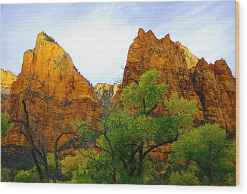 Zion In Autumn Wood Print by Dennis Hammer