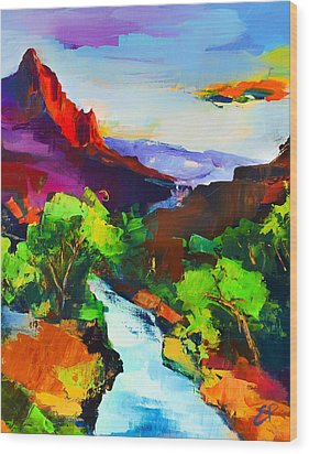 Wood Print featuring the painting Zion - The Watchman And The Virgin River by Elise Palmigiani