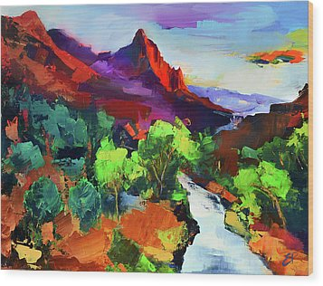 Wood Print featuring the painting Zion - The Watchman And The Virgin River Vista by Elise Palmigiani