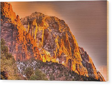 Zion's Fire I Wood Print by Irene Abdou