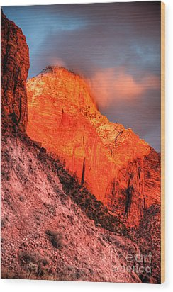 Zion's Fire II Wood Print by Irene Abdou