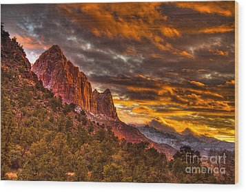 Zion's Fire Iv Wood Print by Irene Abdou