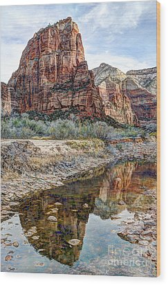 Zions National Park Angels Landing - Digital Painting Wood Print by Gary Whitton