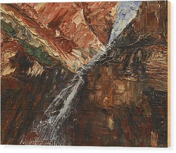 Wood Print featuring the painting Zions Waterfall by Jane Autry