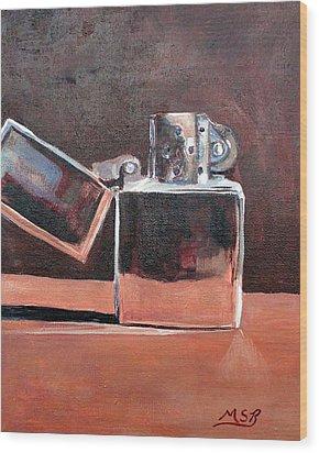 Zippo-light My Fire  Wood Print by Maria Soto Robbins