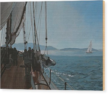 Zodiac Under Sail Wood Print by Robert Bissett