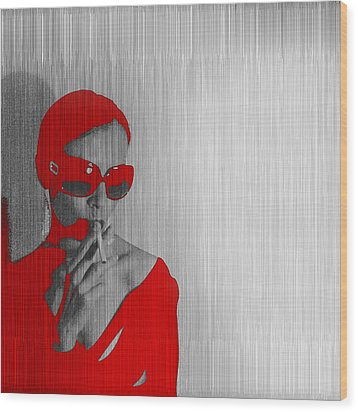 Zoe In Red Wood Print by Naxart Studio