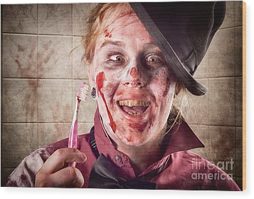 Zombie At Dentist Holding Toothbrush. Tooth Decay Wood Print by Jorgo Photography - Wall Art Gallery