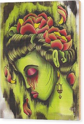 Zombie Girl No2 Wood Print by Lauren B