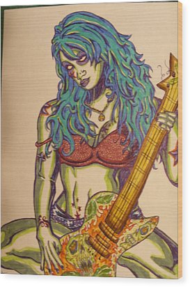 Zombie Guitar Wood Print by Michael Toth