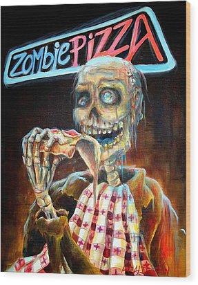 Zombie Pizza Wood Print by Heather Calderon