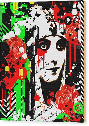 Zombie Queen Roses Wood Print by Chris Andruskiewicz