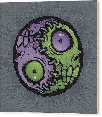 Zombie Yin-yang Wood Print by John Schwegel